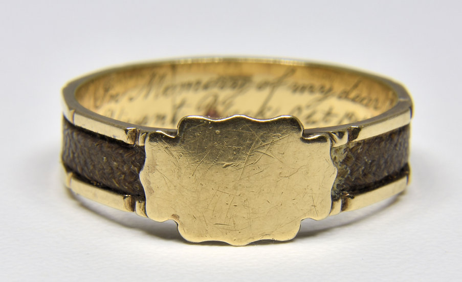 Antique 18ct Gold Early Victorian Plaited Hair Mourning Ring, (1858)