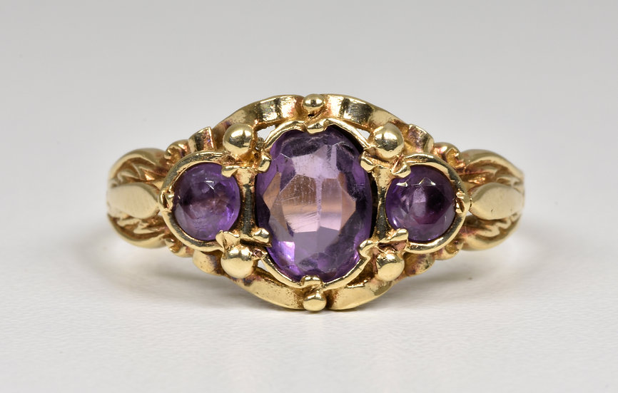 Vintage Victorian Style 9ct Gold 3 Stone Amethyst Ring, (London, 1980)