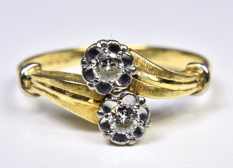 Vintage 18ct Gold Diamond Twist Ring, 1992