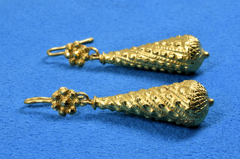 Antique Victorian 22ct Indian Gold Drop Earrings, C1880