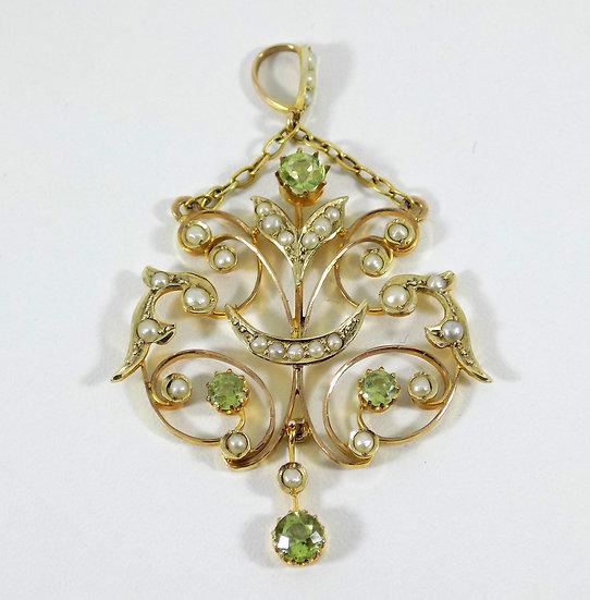 Antique Edwardian 9ct Gold Peridot & Seed Pearl Pendant, c1905