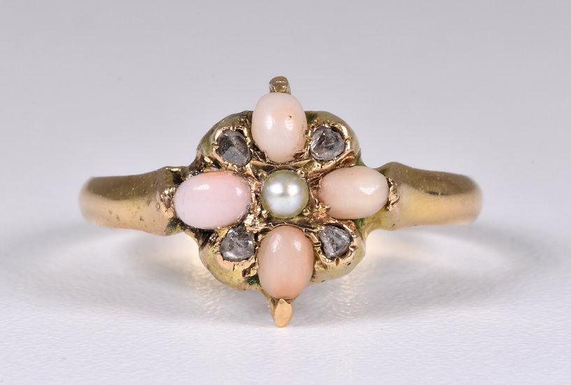 Antique George V 15ct Gold Angel Skin Coral, Diamond & Pearl Ring, (B'ham,1916)