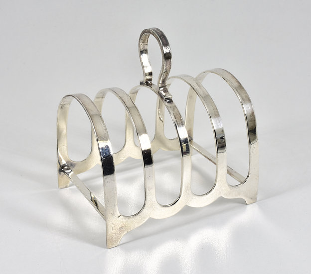 Antique English Solid Silver 4 slice Toast Rack (R F Mosley & Co, 1943)