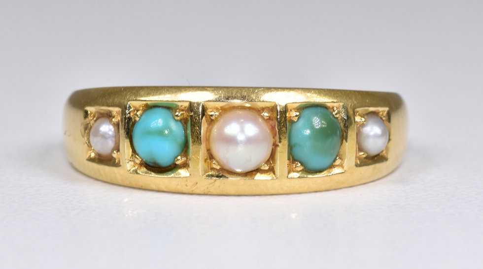 Antique Victorian 18ct Gold Turquoise & Half Pearl Gypsy Ring, (Chester, 1880)