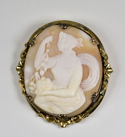 Antique Victorian Pinchbeck Carved Shell Cameo Brooch, C1880