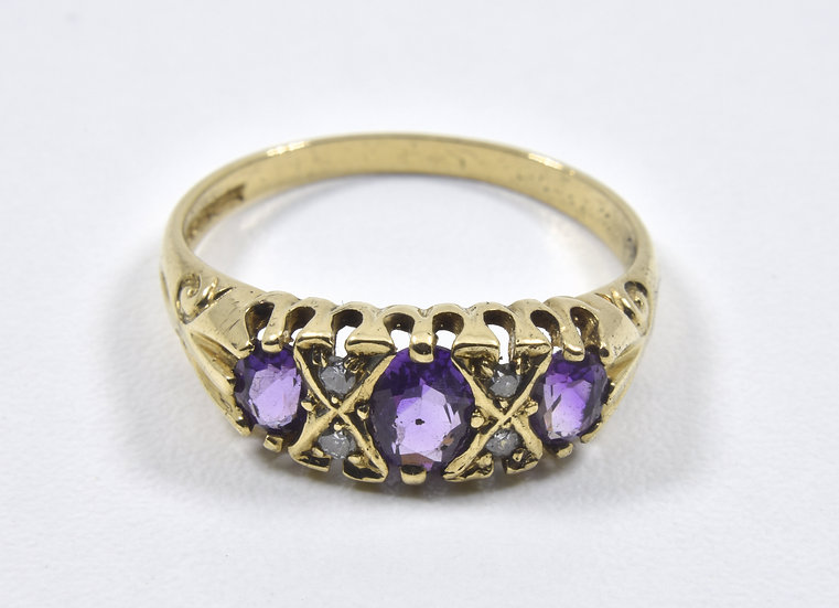 Vintage 9ct Gold Amethyst & Diamond Ring, (Alfred Terry Ltd,1973)