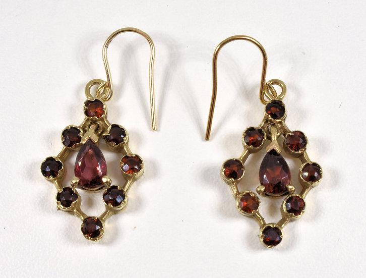 Antique Victorian 9ct Gold & Bohemian Garnet Pendant Drop Earrings, c1880