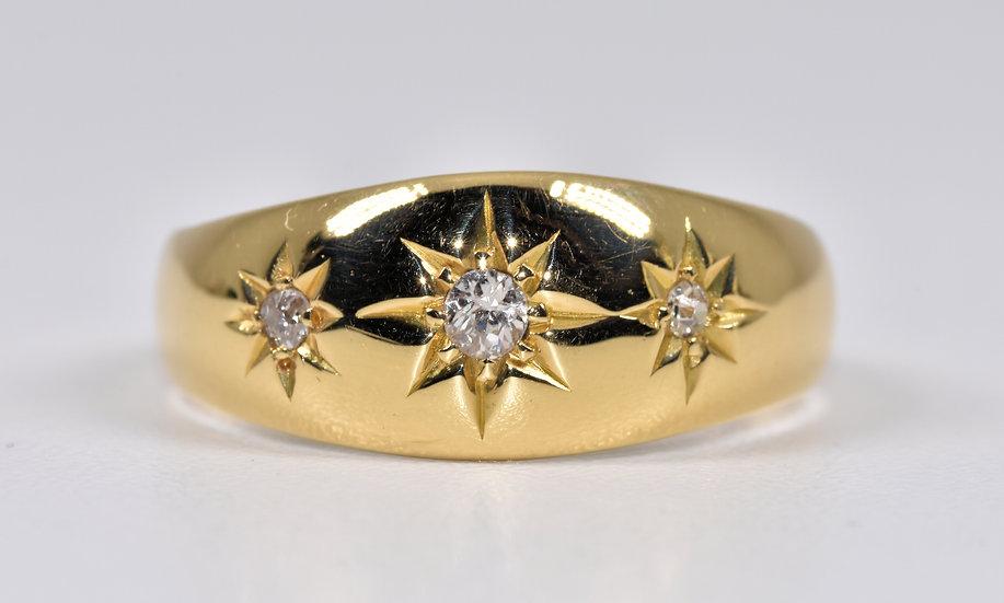Vintage 18ct Gold Diamond Gypsy Ring, 1980's