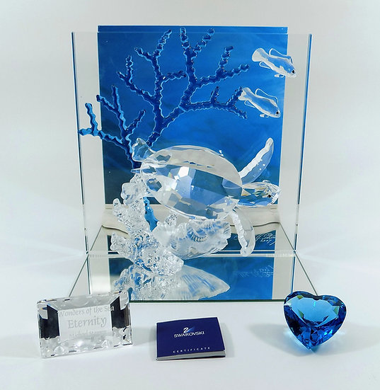 Swarovski Silver Crystal Wonders Of The Sea, Eternity, Title Plaque & Blue Heart