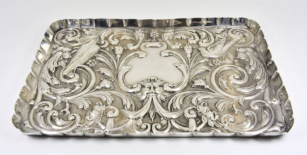 Antique English Victorian Solid Silver Dressing Table Jewellery Tray (1897)