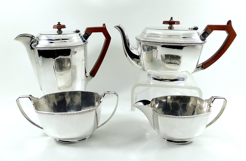 Antique Art Deco Silver Plated 4 Piece Tea Set (Stower & Wragg c1930)
