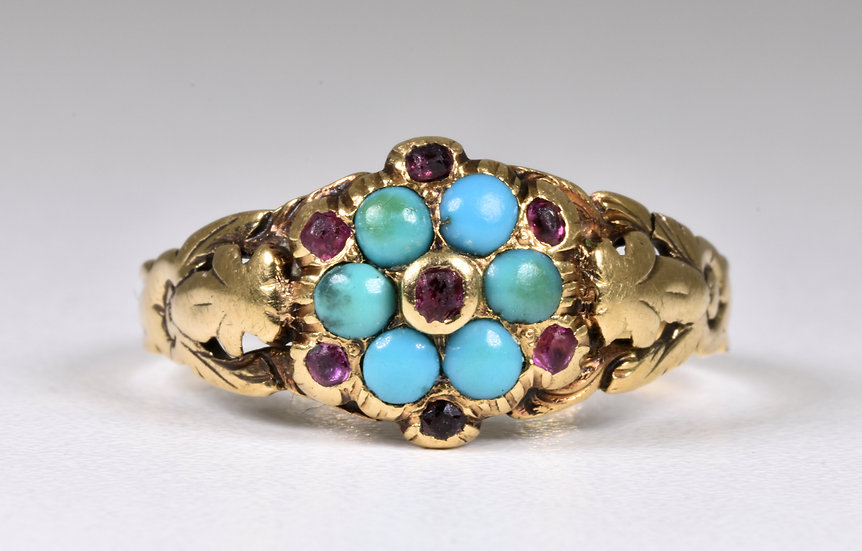 Antique Victorian 18ct Gold Forget Me Not Ruby & Turquoise Memorial Ring, c1880