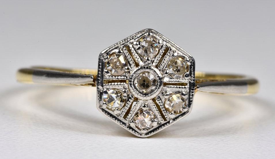 Antique Art Deco 18ct Gold Diamond Ring, (1930's)