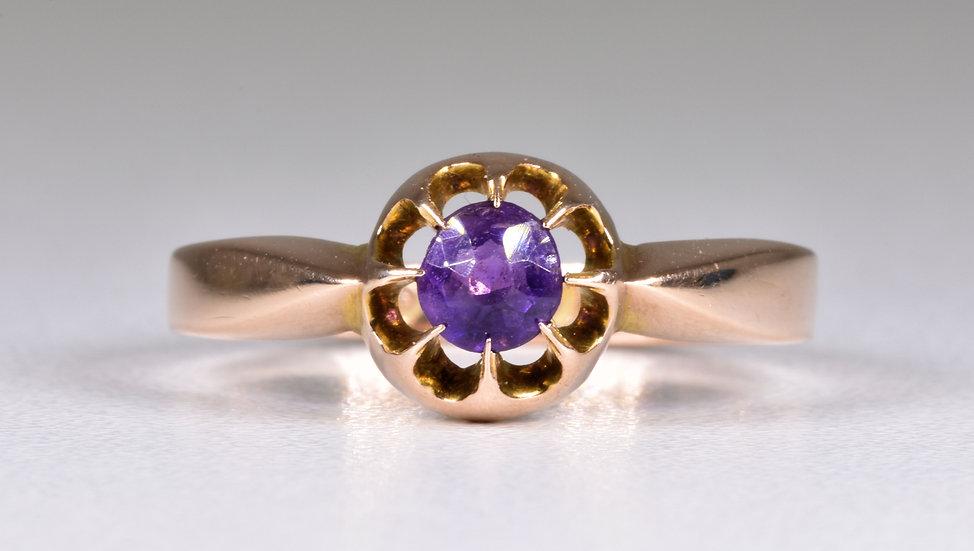 Antique Edwardian 9ct Rose Gold Amethyst Solitaire Ring, 1909, Original Box
