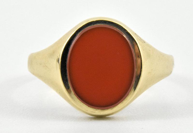 Vintage 9ct Gold Mens Carnelian Ring, UK Size U 1/2, U.S. Size 10 1/2, 1964