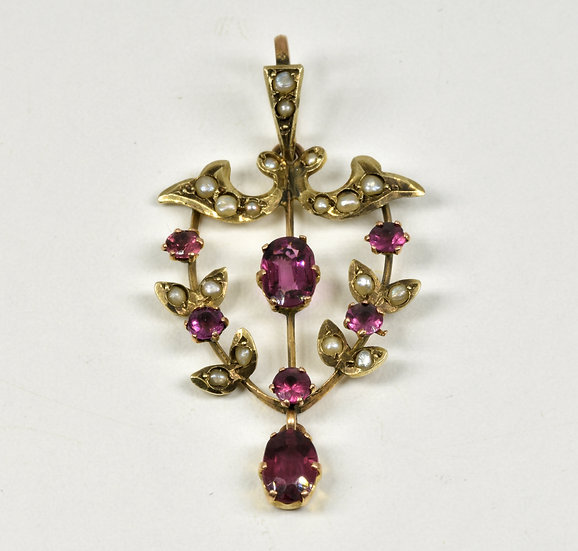 Antique Victorian 9ct Gold Amethyst & Seed Pearl Pendant, c1880