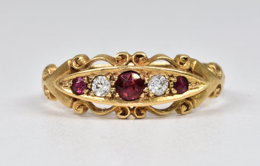 Antique George V 18ct Gold Ruby & Diamond Ring, (Chester,1913)