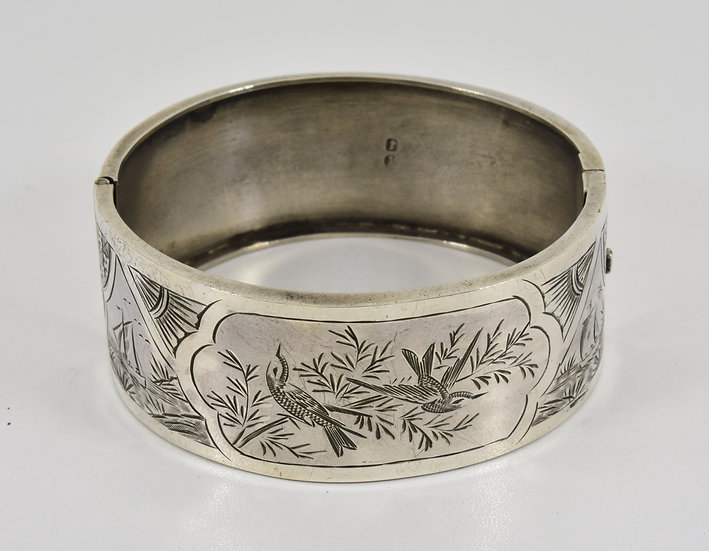 Antique Victorian Solid Silver Aesthetic Hinged Bracelet ( James Fenton,1893)