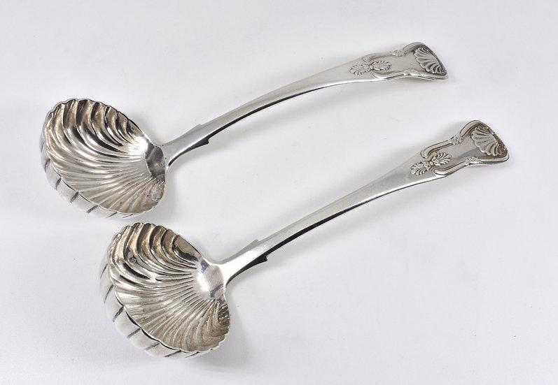 Antique Scottish Victorian Solid Silver Sauce Ladles, (James McKay, 1840)