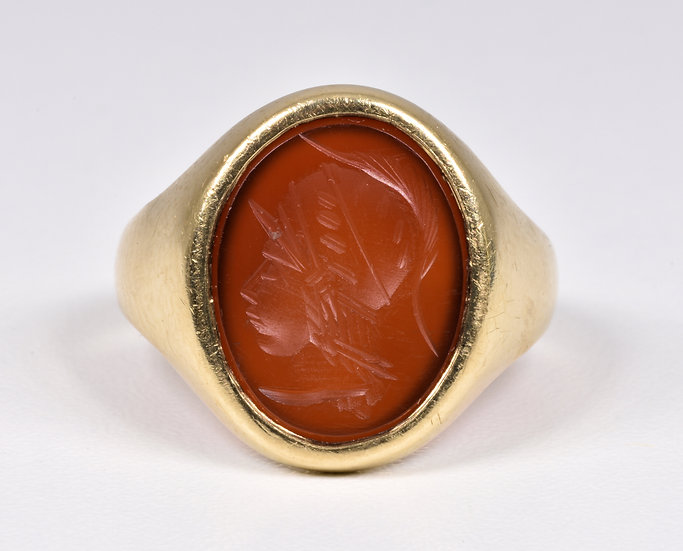Vintage 9ct Gold Carnelian Intaglio Roman Centurion Ring, (London,1961)