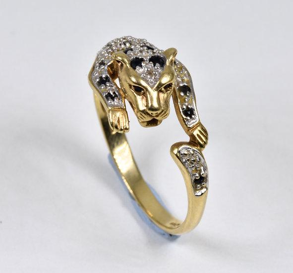 Vintage 9ct Gold Leopard Ring, Sapphire & Diamond,1980's