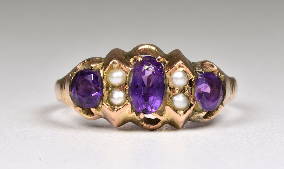 Antique Victorian 9ct Rose Gold Amethyst & Seed Pearl Ring, 1884