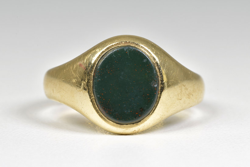 Vintage 9ct Gold Bloodstone Ring, (Sheffield,1977)
