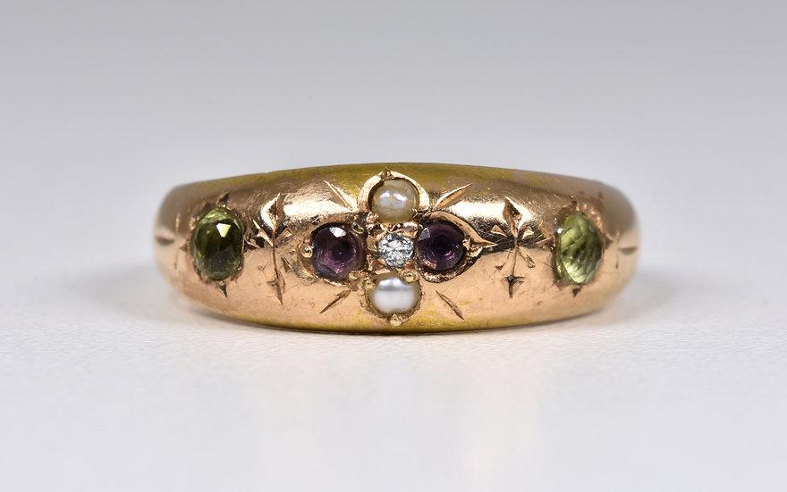 Antique Victorian 15ct Gold Suffragette Gypsy Ring, (Birmingham,1890)