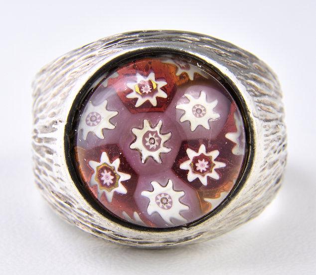 Vintage Large Caithness Silver Millefiori Ring, ( Birmingham,1979)