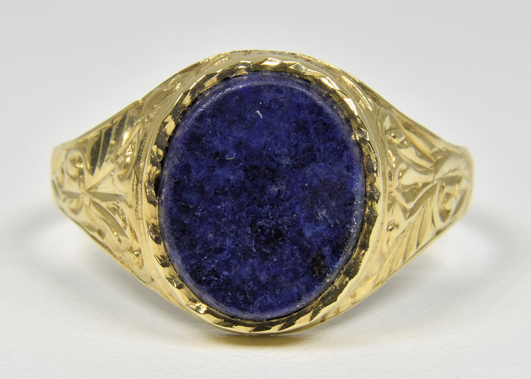 Vintage 9ct Gold Mens Lapis Lazuli Ring, (Birmingham, 1988)