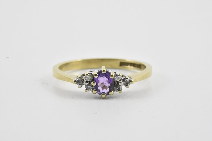 Vintage Ladies 9ct Gold Amethyst & Diamond Ring, UK Size Q, U.S. Size 8 1/4