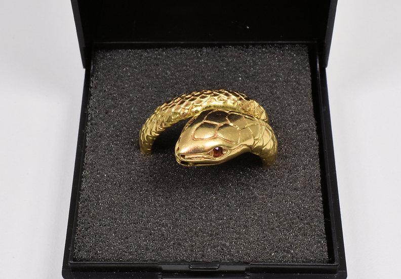 Vintage 9ct Gold Snake Ring, Garnet Eyes,(London 1975)