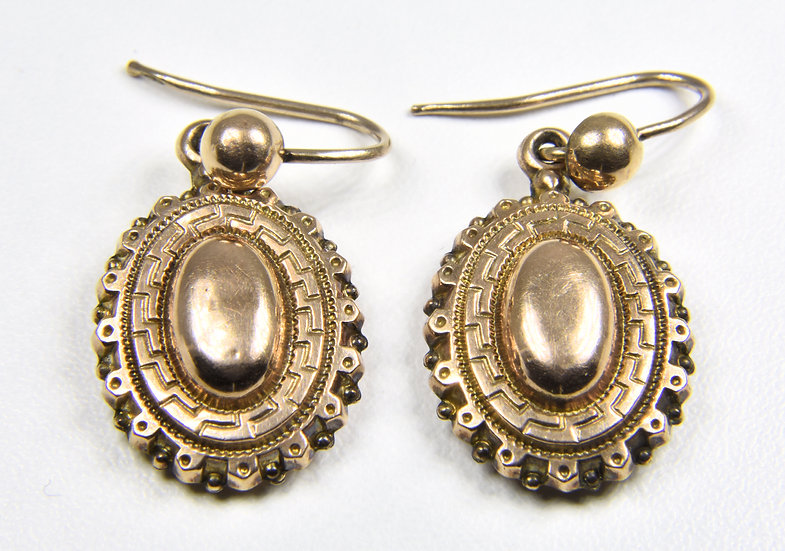 Antique Victorian Aesthetic 9ct Gold Drop Earrings, c1880