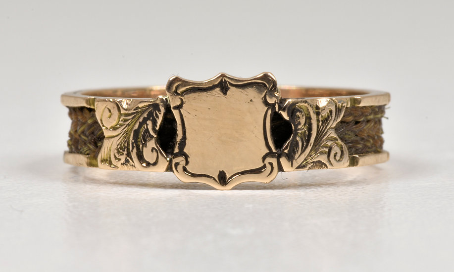 Antique Victorian 9ct Gold Plaited Hair Mourning Ring, 1874