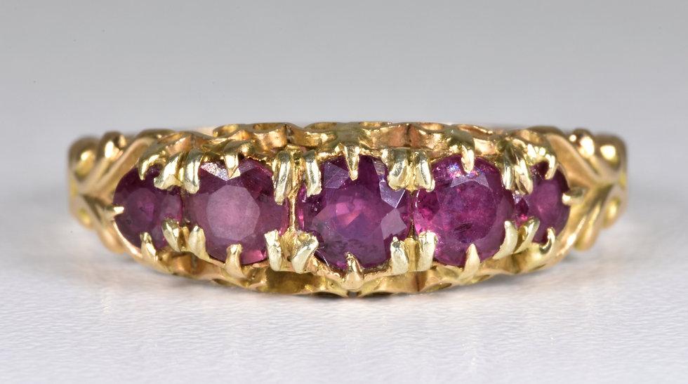 Antique Victorian 15ct Gold Ruby Ring, (Birmingham, 1866)