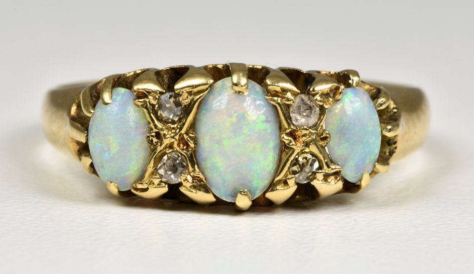 Antique Edwardian 18ct Gold Fire Opal & Diamond Ring, (Chester, 1909)