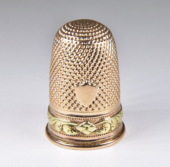 Antique Victorian French 18ct Rose Gold Thimble With Original Case, c1880