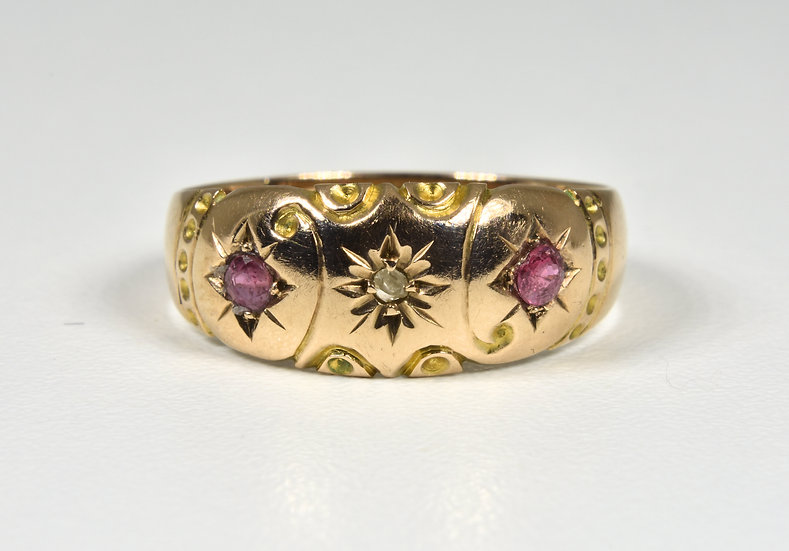 Antique Edwardian 9ct Gold Ruby & Diamond Gypsy Ring, (1905)