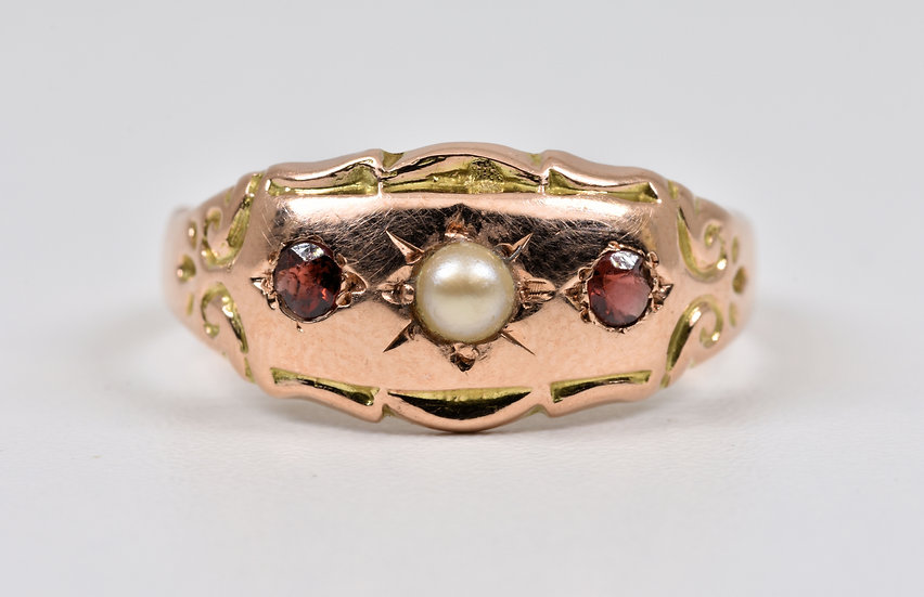 Antique George V 9ct Rose Gold Garnet & Half Pearl Gypsy Ring, (B'ham, 1918)