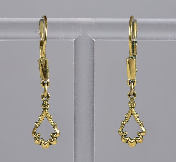 Vintage Victorian Style 14ct Rolled Gold Drop Earrings,1960's