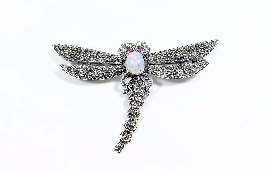 Antique Art Deco Sterling Silver & Marcasite Large Dragonfly Brooch, c1930