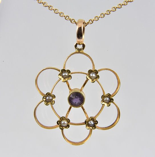 Antique Victorian 15ct Gold Amethyst & Seed Pearl Pendant & 9ct Gold Chain