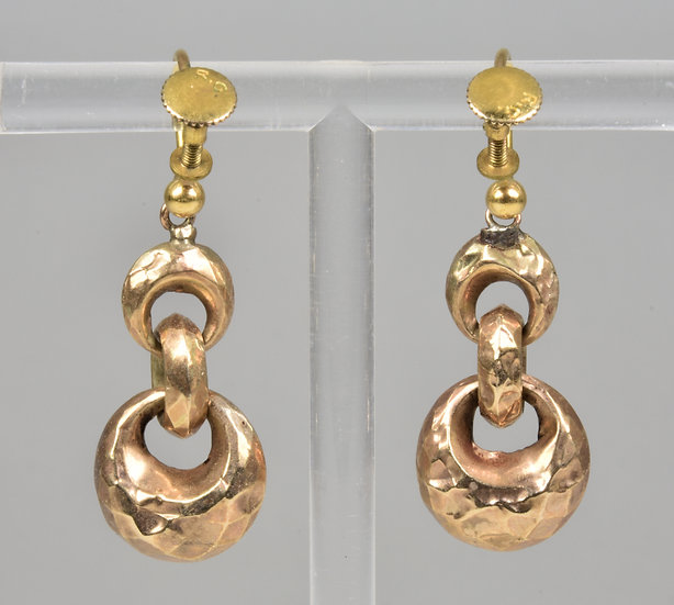 Antique Victorian 9ct Gold Puff Hoops Drop Earrings, C1880