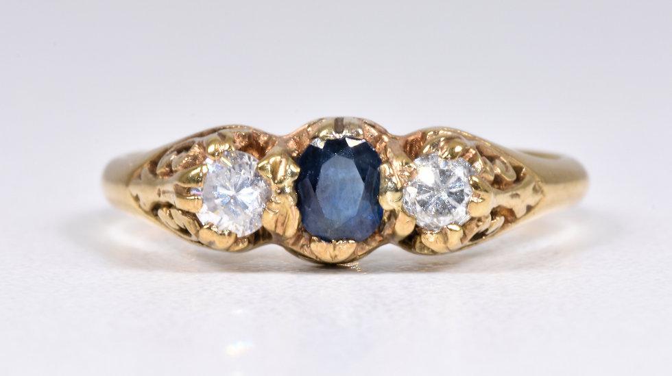 Vintage 9ct Gold Sapphire & Diamond 3 Stone Ring, (London, 1986)