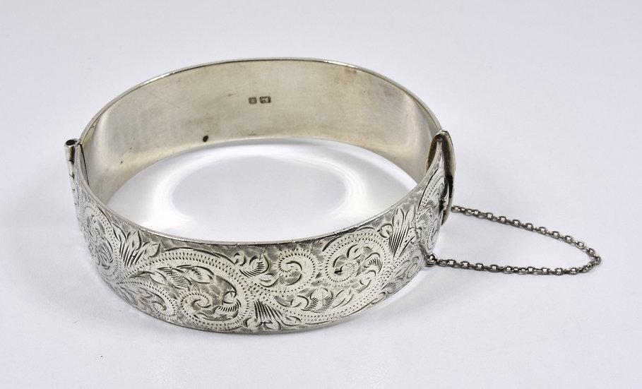 Vintage English Solid Silver Hinged Bracelet, (Fred Manshaw Ltd, 1964, 58g)