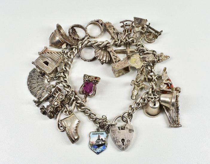 Vintage Silver Charm Bracelet, 25 Charms, 61.26g, Birmingham 1978