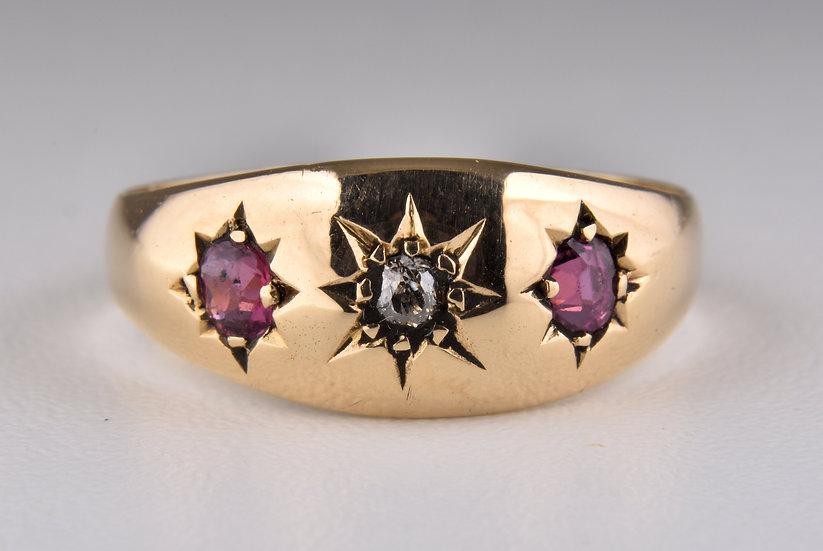 Antique Edwardian 18ct Gold Ruby & Diamond Gypsy Ring, 1903