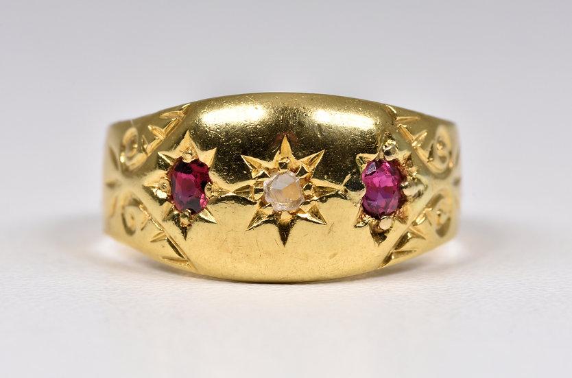 Antique Edwardian 18ct Gold Ruby & Diamond Gypsy Ring, c1905