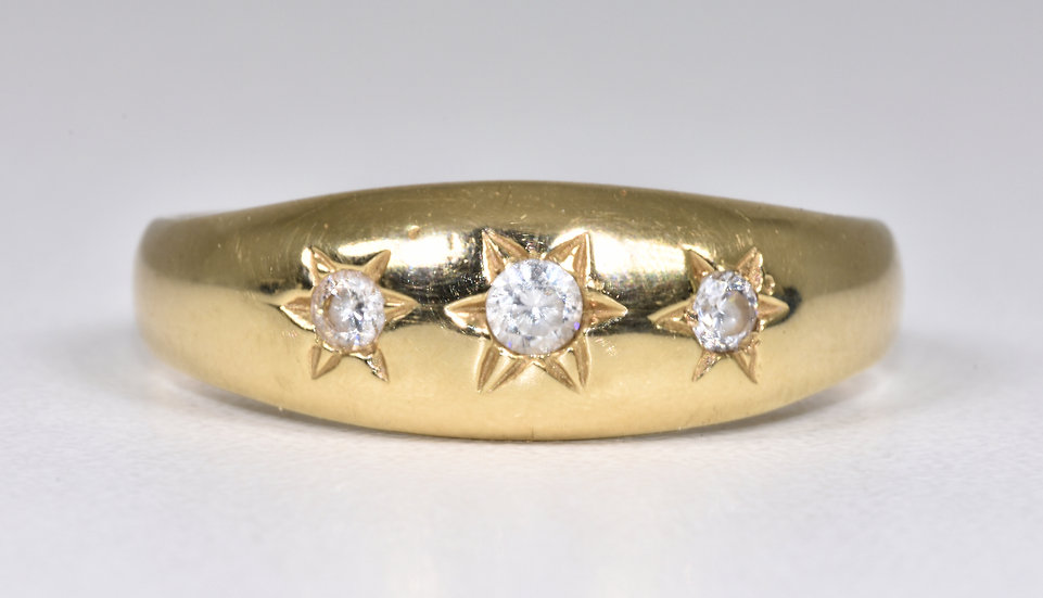 Vintage 9ct Gold 3 Stone Diamond Gypsy Ring, 1970's/80's