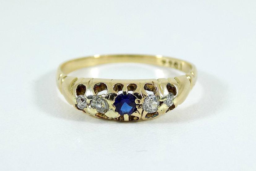 Antique Victorian 22ct Gold Sapphire & Diamond Ring, c1890